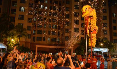 lion dance performance at singapore service apartment