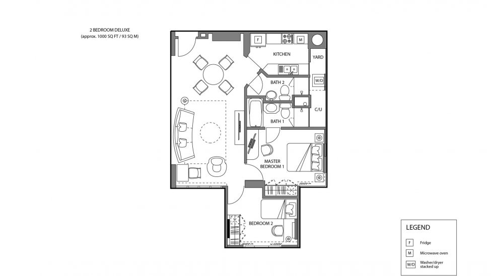 floor plan of two bedroom deluxe serviced apartment