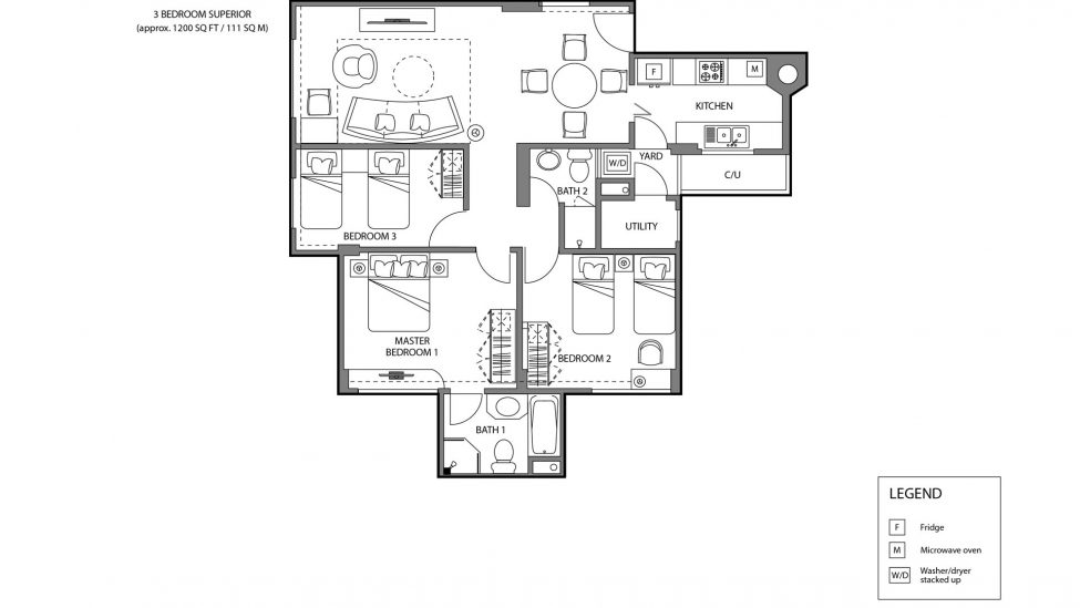 three bedroom superior floor plan singapore serviced apartments for rent