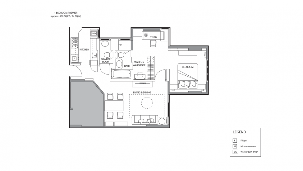 floor plan of one bedroom premier service apartments for a week stay in singapore