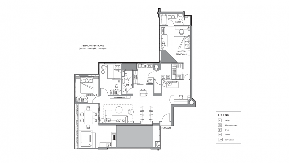 floor plan of three bedroom penthouse and luxury serviced apartment