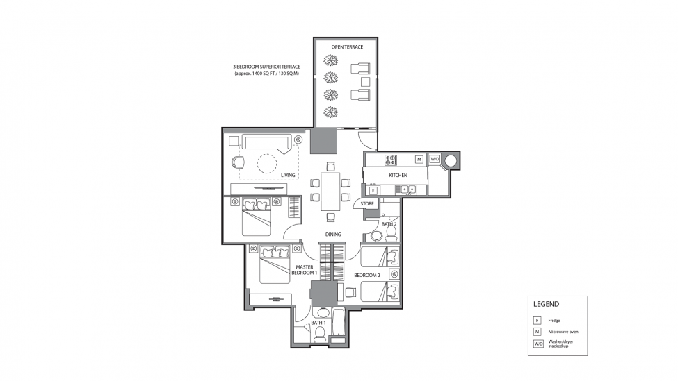 floor plan layout of three bedroom superior terrace apartment for rent