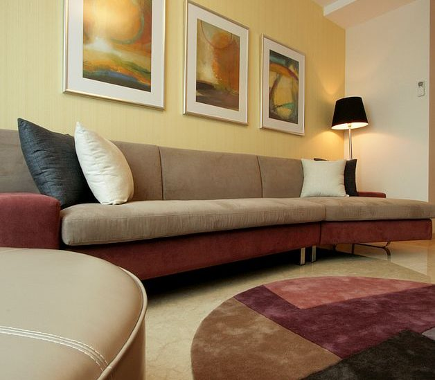 sofa furniture in three bedroom superior apartment with terrace for rent