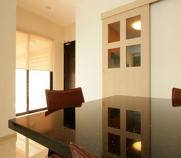 marble top dining table of three bedroom superior terrace apartment for rent