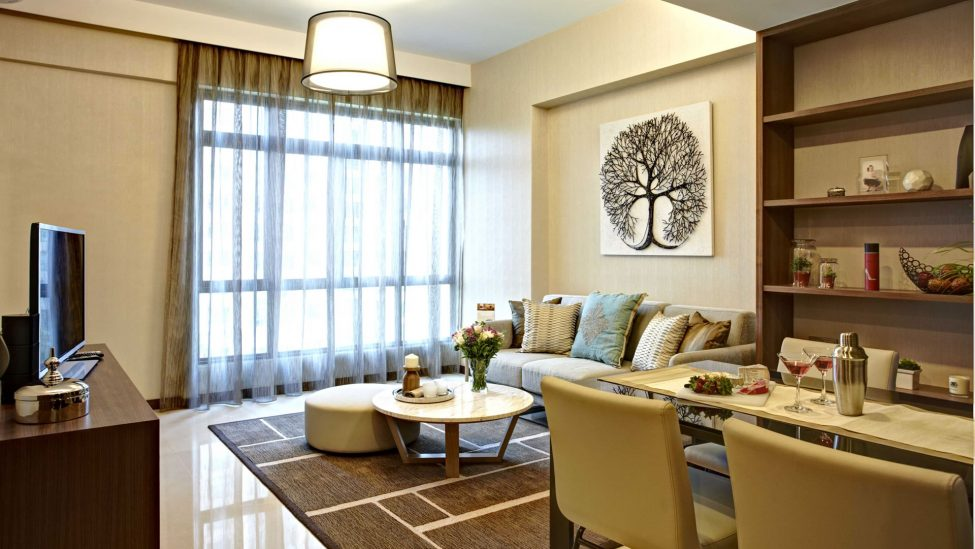 dining area of one bedroom premier service apartments for a week rent in singapore