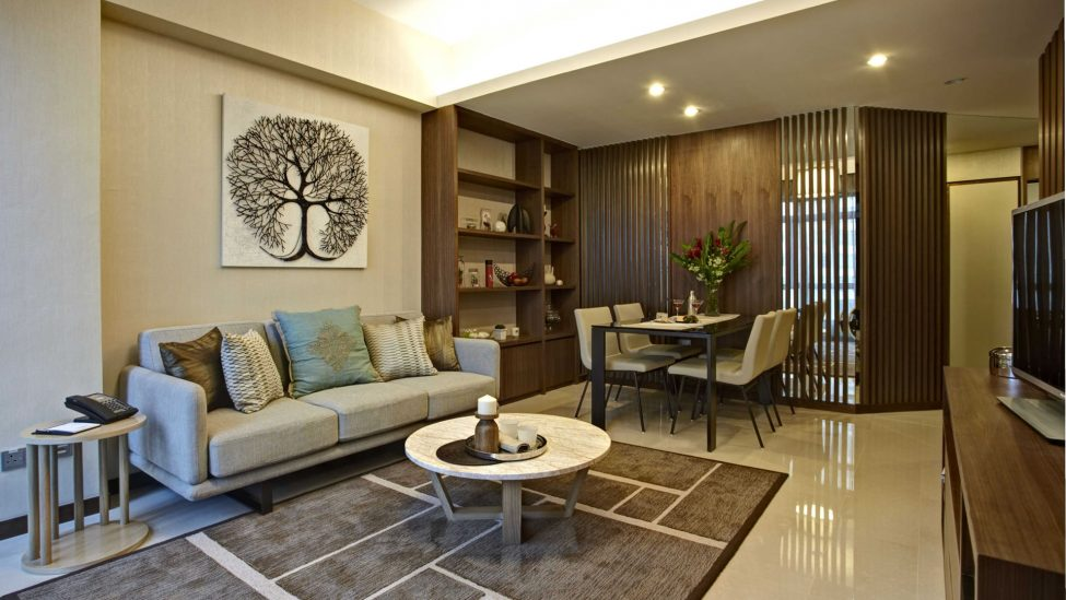 living and dining areas of singapore serviced apartment