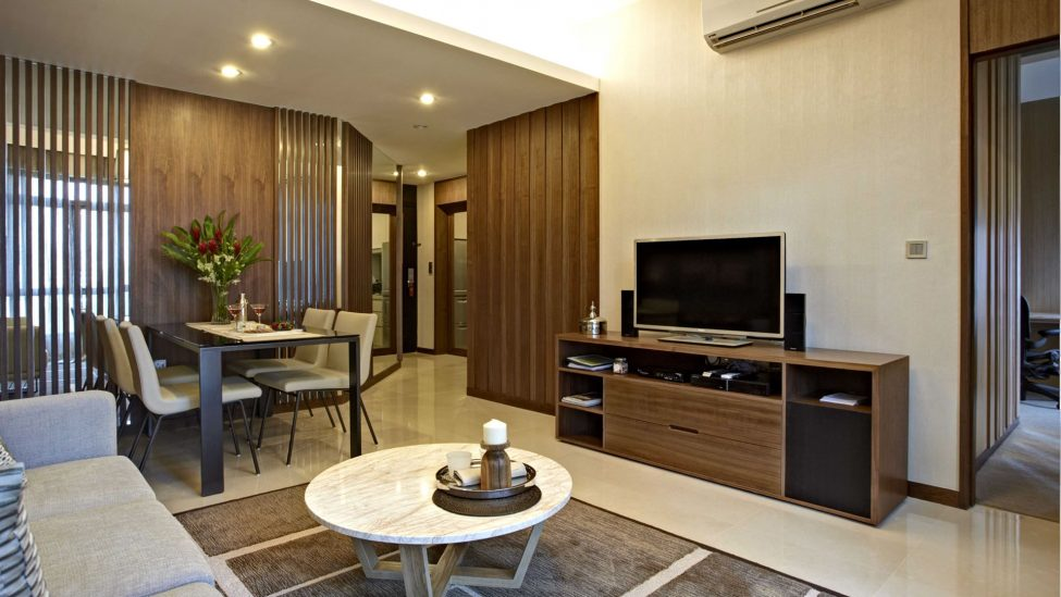 tv and home theatre system included in one bedroom service apartments for a week stay