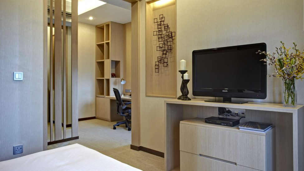 separate study area of service apartments in singapore a week stay available