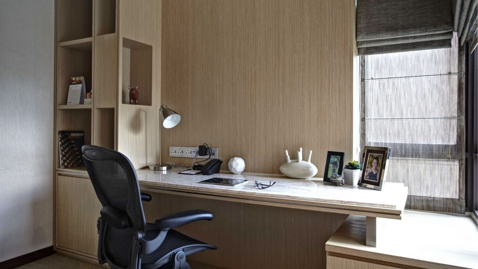 study table of one bedroom service apartments for a week stay in singapore