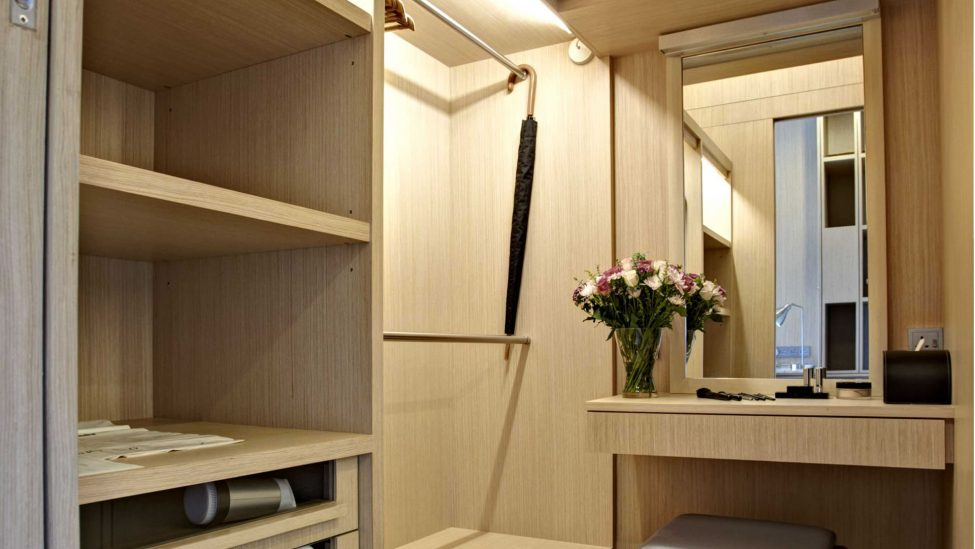 wardrobe and dressing table of one bedroom service apartments for a week stay in singapore