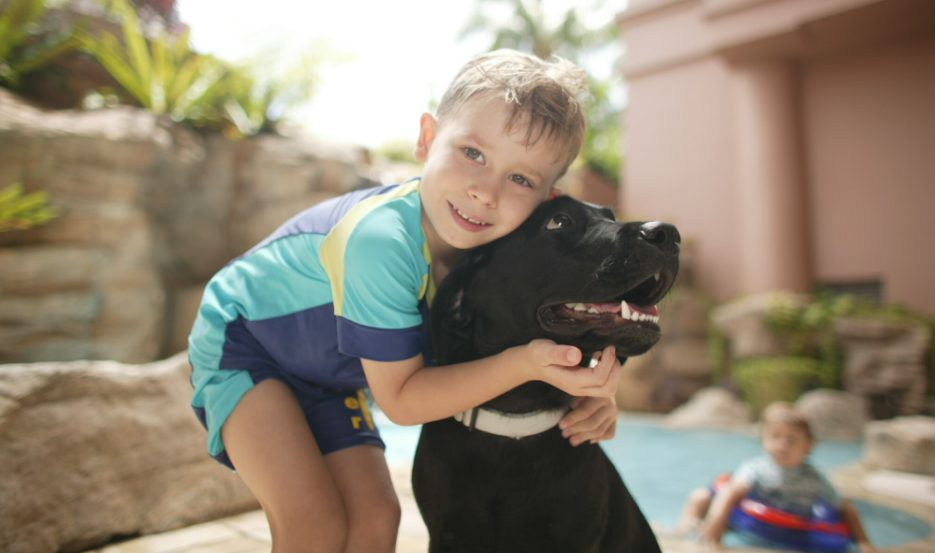 boy embracing dog at our pet friendly serviced apartments