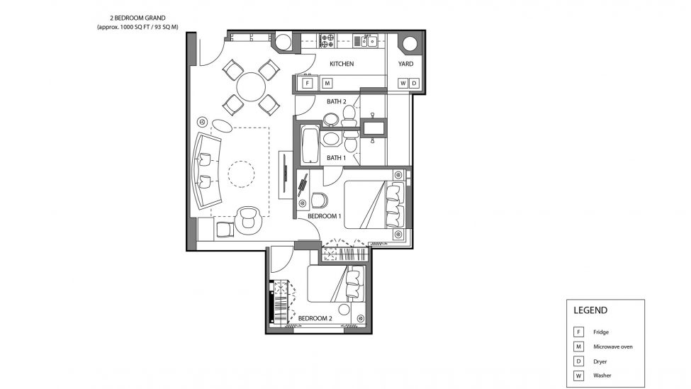floor plan of two bedroom grand affordable service apartment