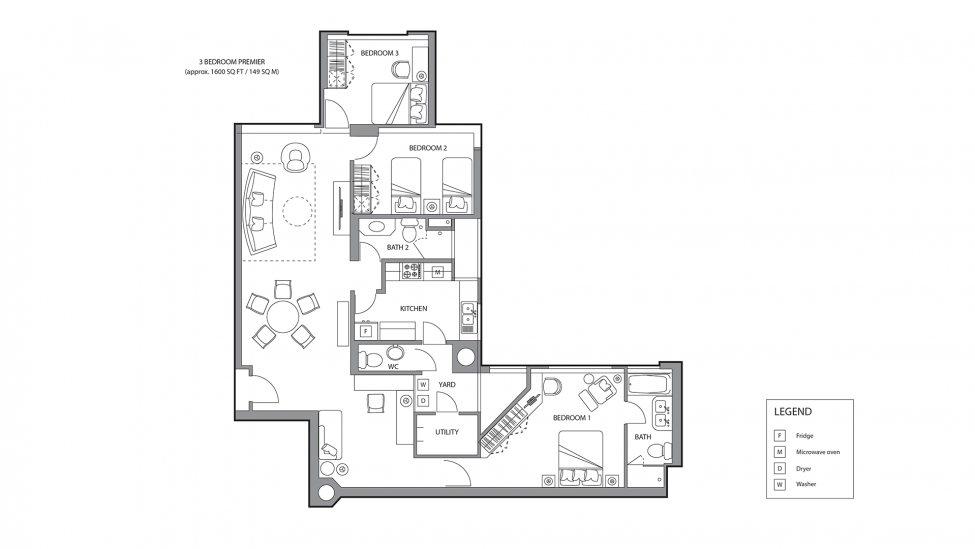 floor plan of three bedroom premier and luxury serviced apartment